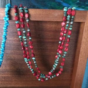 Jewelry - American Indian Coral Turquoise Vintage Necklace